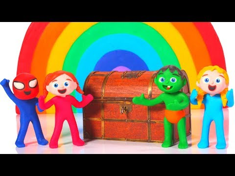 SUPERHERO BABIES FIND A TREASURE UNDER THE RAINBOW ❤ SUPERHERO BABIES PLAY DOH CARTOONS FOR KIDS