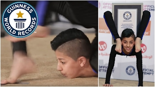 """Mohammed """"Spider-Boy"""" Alsheikh has broken the world record for the Most full body revolutions maintaining a chest stand in one minute following a successful ..."""