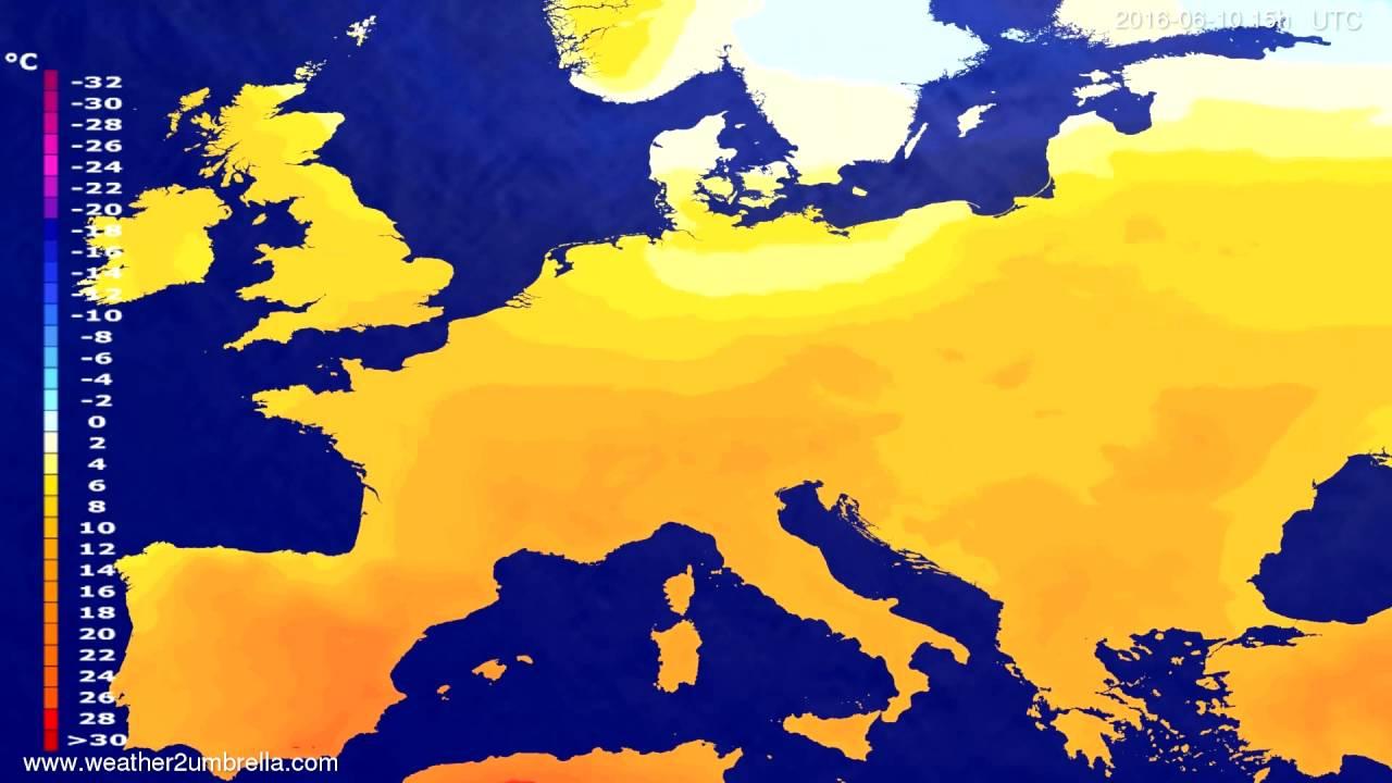Temperature forecast Europe 2016-06-07