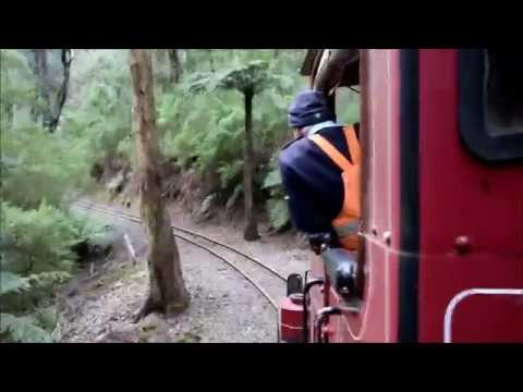 Walhalla Goldfields Railway - Climbing from Thomson to Walhalla 26-7-14