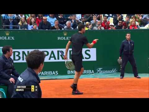 Shot - Locked in a baseline rally with Albert Ramos, Grigor Dimitrov shows great athleticism and skill to conjure up a winner on Wednesday at the Monte-Carlo Rolex ...