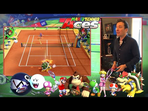 Jimmy Fallon Gets First Hands-On Play of Mario Tennis Aces (видео)