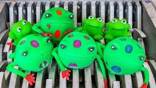Frog Family Shredded! Squishy Frogs and Animal Toys Destroyed! What's Inside Slime Water Bath Toys?