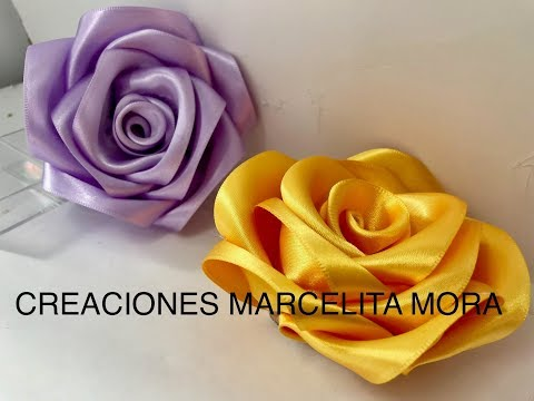 DIY- Como Hacer Una Rosa Flor Liston Satin/ How To Make Rose RibbonРоза//クリップ簪/Fita Cetin