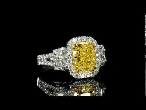 GIA Certified 3.00ct Cushion Cut Fancy Yellow Diamond Ring