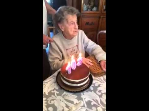 102 year old grandma blows out her bday candles and something else comes out!