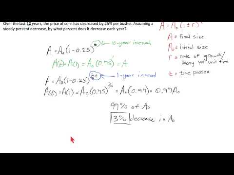 Algebra II: Examples on Exponential Growth, Decay, and Percent Relationships