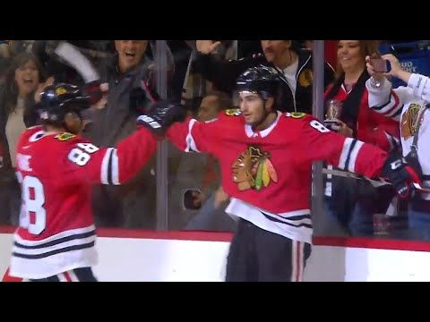 Video: Blackhawks' Schmaltz scoops the puck up and slips it by Talbot