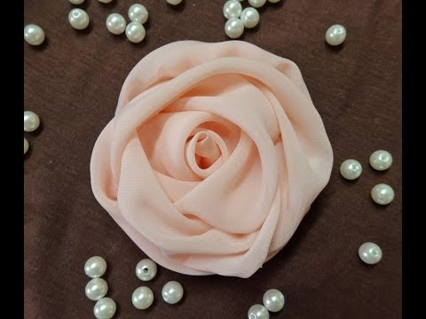 Chiffon - Hello everyone,i am so excited to share this video with you. How to make fabric rose,chiffon rose.i am using chiffon for this flower,but you can use any othe...