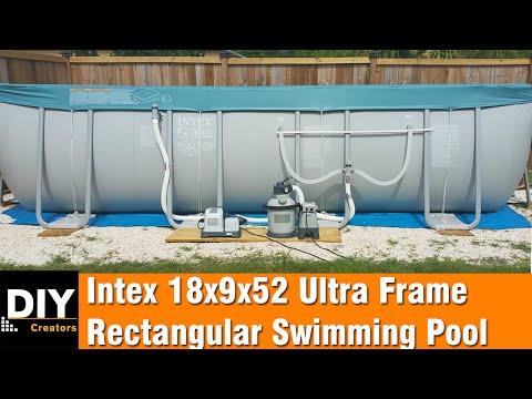 Intex 18x9x52 Ultra Frame Rectangular Swimming Pool - installation