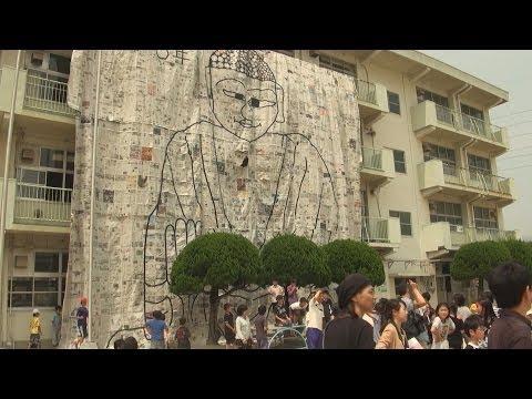 実物大の奈良の大仏描く 北九州市の小学校