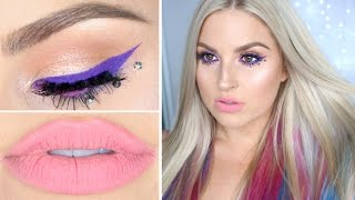 Colorful Festival Hair & Makeup! ♡ DIY Pink, Purple & Blue Hair Extensions by Shaaanxo