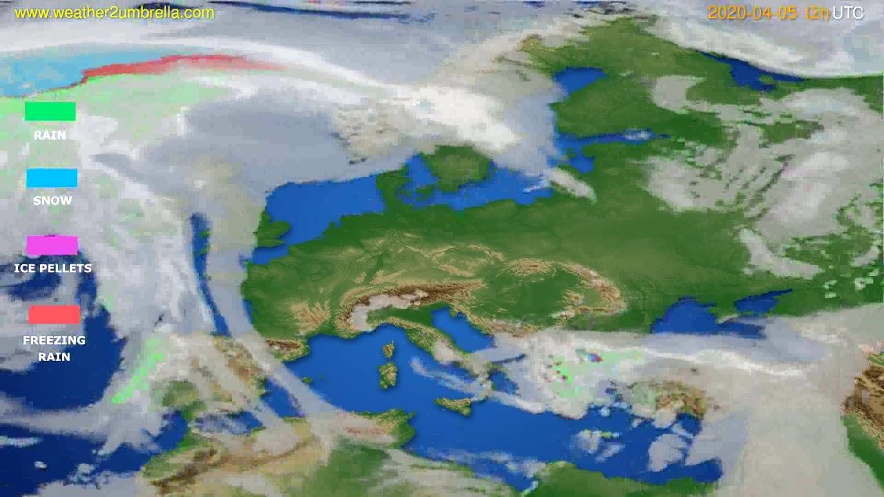 Precipitation forecast Europe // modelrun: 00h UTC 2020-04-05
