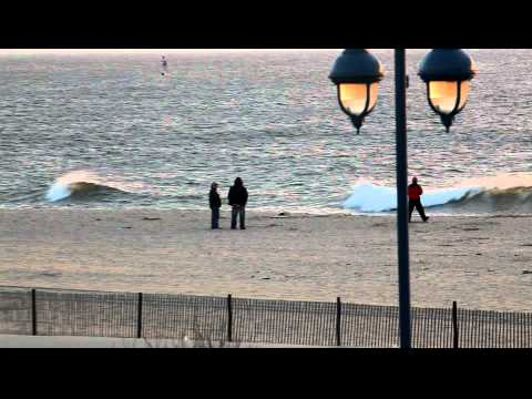 0 Sun rise and Seal on the beach video Belmar NJ 