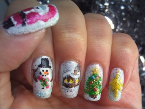 Christmas nail art tutorial - Snowglobe: Santa