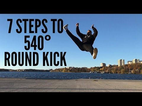 7 steps Tutorial for 540 Round Kick Tutorial (видео)