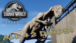Video Jurassic World Evolution - ALL 42 DINOSAURS REVEALED - T-Rex, Raptor & Indominus Rex MP3, 3GP, MP4, WEBM, AVI, FLV Juni 2018