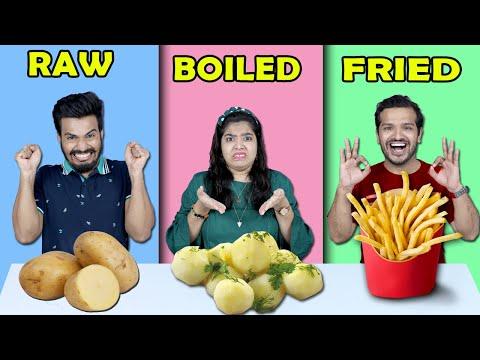 Raw Vs Boiled Vs Fried Food Challenge | Food Challenge (Hungry Birds)