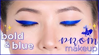 bold blue liner: prom makeup tutorial
