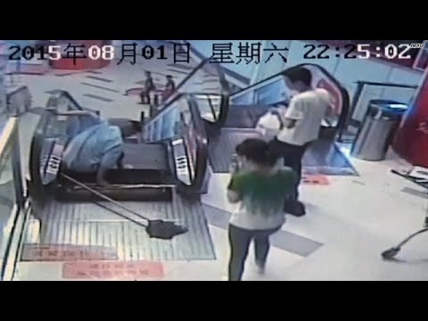 Mall worker's leg amputated in escalator accident