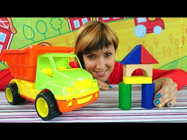 Мультфильм про экскаватор, видео про грузовичок - Веселая Школа - объемные геометрические фигуры
