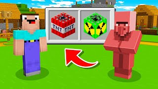 NOOB vs PRO : NOOB SHOCKED WHEN TRADING WITH TNT VILLAGER! Challenge