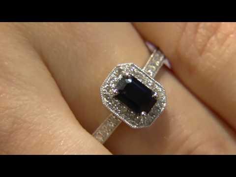 CR1015 emerald cut sapphire halo ring