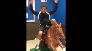 Adams trick riding sandy the horse at meijers
