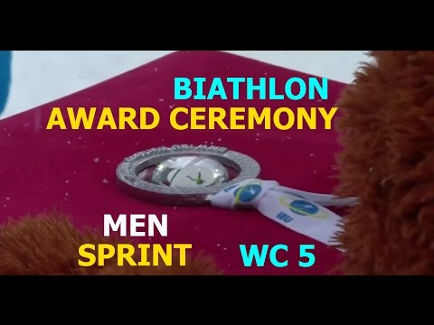 The award ceremony BIATHLON MEN SPRINT 13.01.2017  World Cup 5 Ruhpolding (Germany) (видео)