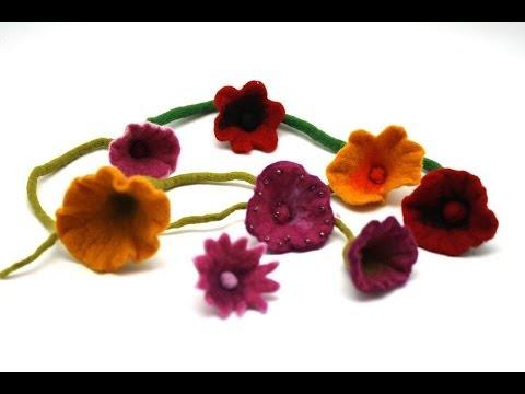 Filzanleitung für süße Blüten – trolle-und-wolle.de