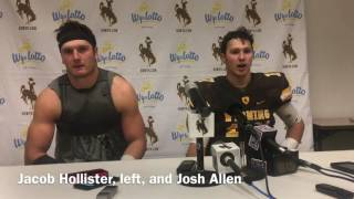 University of Wyoming senior tight end Jacob Hollister, left, and redshirt sophomore quarterback Josh Allen talk about the Cowboys' 30-28 win over No. 13 Boi...