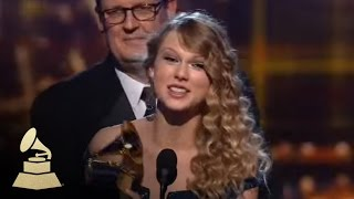 Taylor Swift accepting the GRAMMY for Album of the Year at the 52nd GRAMMY Awards   GRAMMYs
