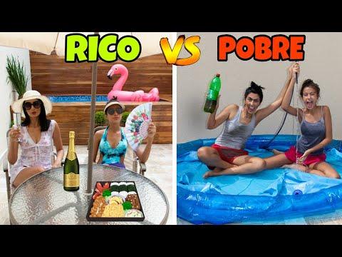 RICO VS POBRE NA PISCINA|Letícia e Sil
