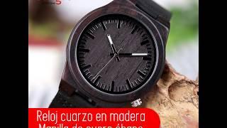 Reloj cuarzo en madera y manilla de cuero ébano