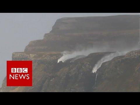 Storm Henry blows a waterfall backwards