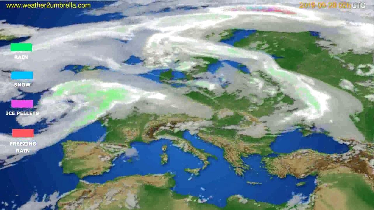 Precipitation forecast Europe // modelrun: 12h UTC 2019-09-26