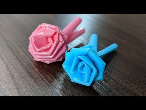 Easy Rose with of drinking straw , Valentine gifts