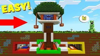 Minecraft Tutorial: How To Make A Modern Tree House With an Underground Base