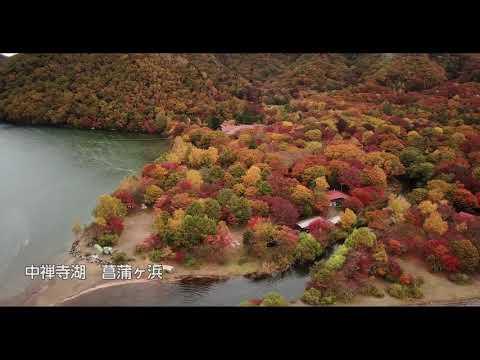 紅葉の中禅寺湖 菖蒲ヶ浜(見頃)