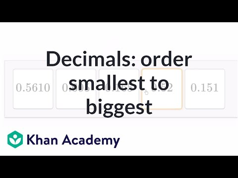 Ordering Decimals 2 Video Decimals Khan Academy