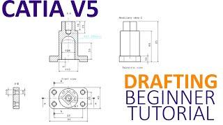 CATIA V5 Drafting Beginner Tutorial - How to create a 2D using Drafting
