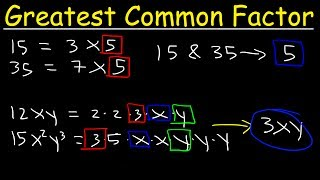 This Pre-algebra video tutorial explains how to find the greatest common factor of two monomials with variables & exponents and how to find the GCF given two or three large numbers.  This video contains plenty of examples and practice problems.Pre-Algebra Video Playlist:https://www.youtube.com/watch?v=WJqw-cxvKgo&list=PL0o_zxa4K1BVoTlaXWFcFZ7fU3RvmFMMGAlgebra Online Course:https://www.udemy.com/algebracourse7245/learn/v4/overviewAccess to Premium Videos:https://www.patreon.com/MathScienceTutor