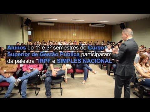 """Alunos do Curso de Gestão Pública participaram de uma palestra """"IRPF e SIMPLES NACIONAL"""""""