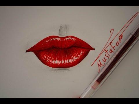 رسم الشفاه بالقلم الجاف الاحمر (الحبر) How to draw lips