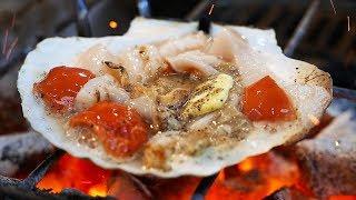Video Japanese Street Food - OSAKA SEAFOOD Giant Scallops, Oysters, Sea Urchin Japan MP3, 3GP, MP4, WEBM, AVI, FLV Agustus 2019