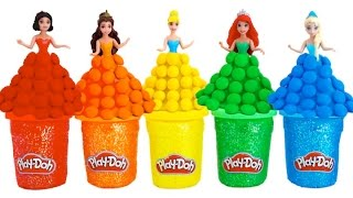 Learn Colors Play Doh Sparkle Disney Princess Dresses Candy Surprise Toys RL