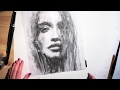 Female Portrait  Charcoal Speed Drawing