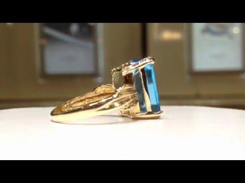 7 Carat Blue Topaz Ring in 14K Gold
