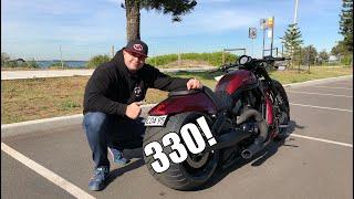 8. Harley Davidson V-Rod custom Night Rod 330 rear tire & Review