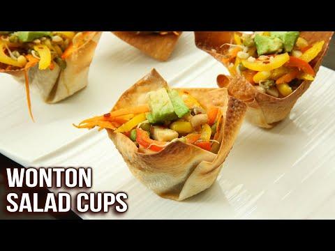How To Make Wonton Salad Cups | Crispy Wonton Cups | Easy Appetizer Recipe | Ruchi